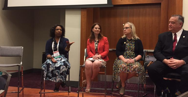 Left to right: Robin Hayes, American Counseling Association; Natasha Rankin, ACA; Donna Jarvis-Miller, American Public Human Services Association; Scott Stanton, IAEE