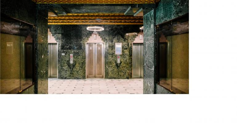 The Art Deco-style lobby elevators at The Sinclair hotel in Fort Worth, Texas