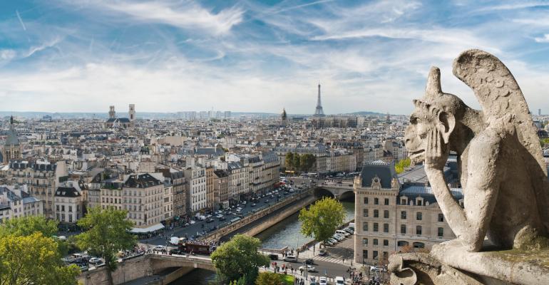 In Paris, a gargoyle on Notre Dame