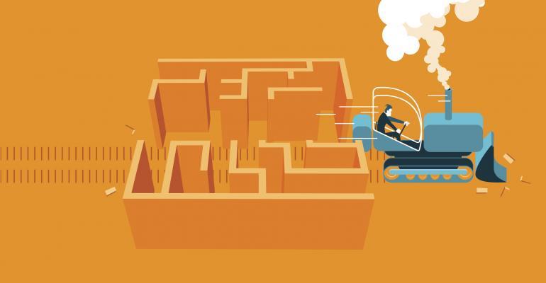 Bulldozing through a maze