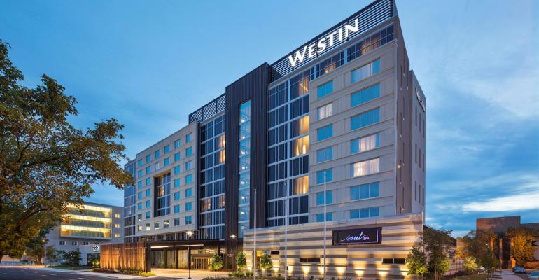 Exterior of the Westin Jackson at dusk