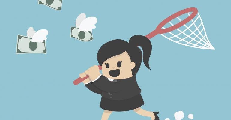 Cartoon woman catching dollars with butterfly net