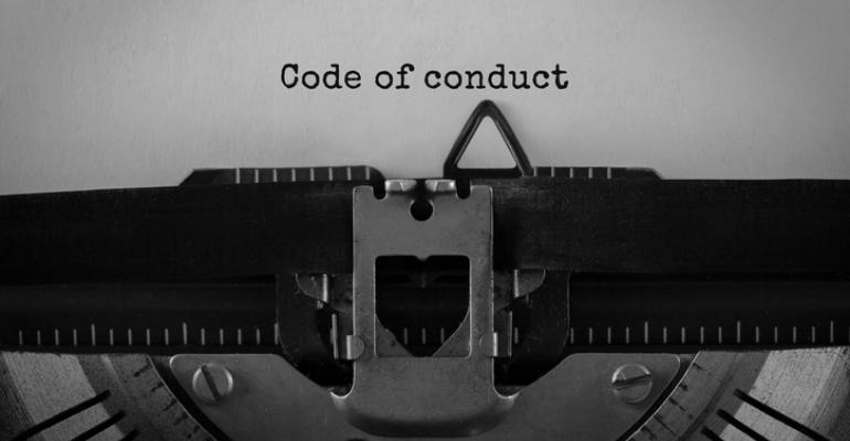 Code of Conduct typed on a typewriter