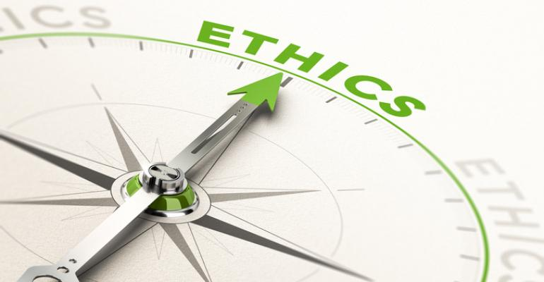 "compass pointing to word ""ethics"""