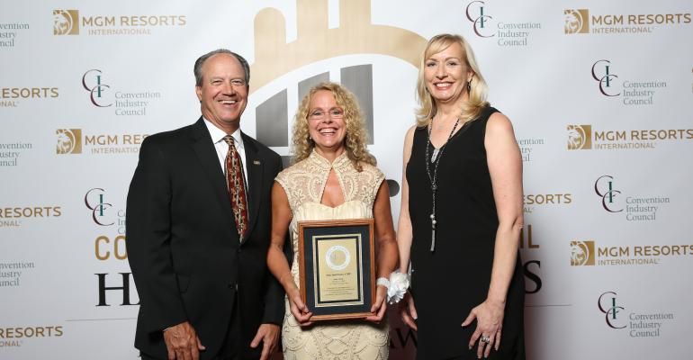 CIC HOL honoree Amy Spatrisano CMP center helped change the way we see sustainability as an industry She is flanked by David Dubois CMP CAE CTA FASAE the 2015 chair of the CIC Board of Directors and CEO of the International Association of Exhibitions and Events and Karen Kotowski CAE CMP CEO of the Convention Industry Council