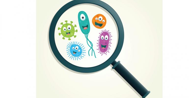 Cartoon germs under a magnifying glass