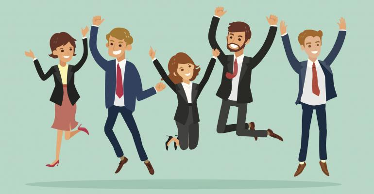 Cartoon happy business people jumping for joy