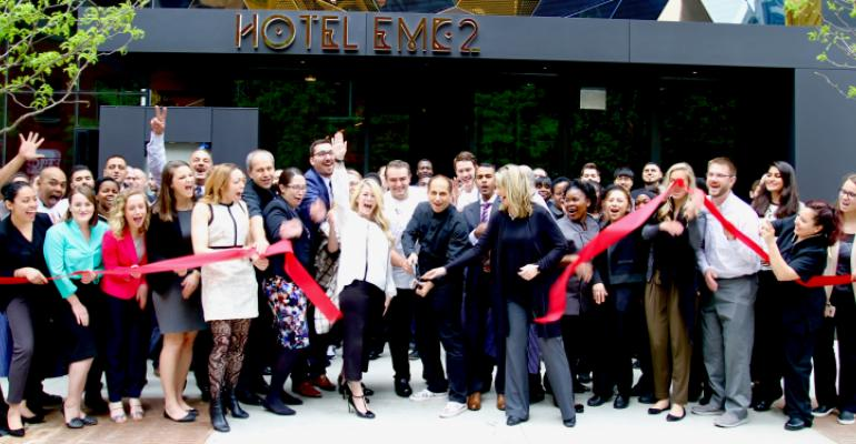 Cutting the ribbon to open Chicago's new Hotel EMC2