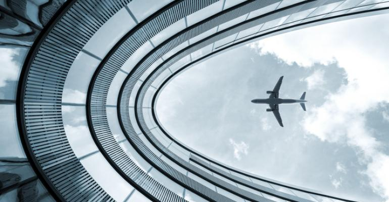 jet framed by architecture
