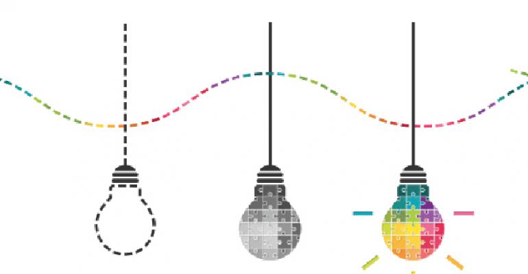 three colorful hanging lightbulbs