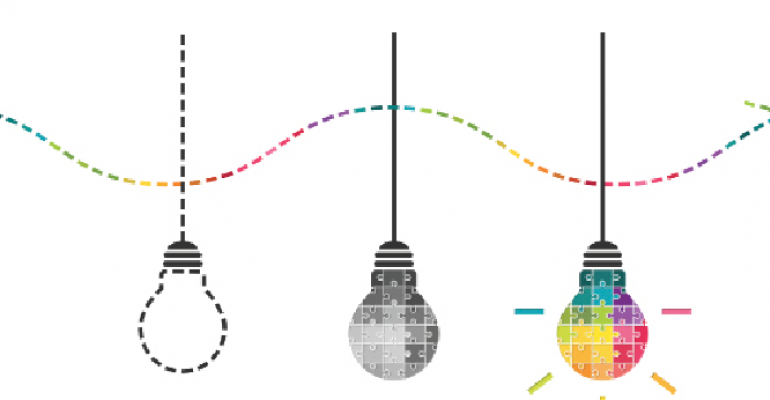three colorful hanging lightbulbs