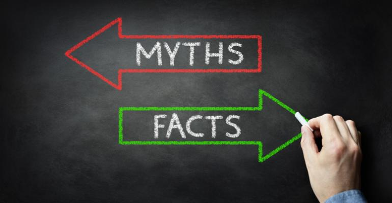 Arrows pointing toward myths and facts