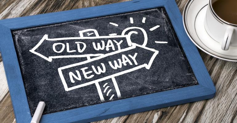 """Pad with """"Old Ways, New Ways"""" drawn on arrows"""