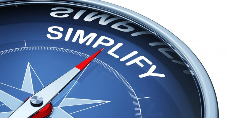 "Compass pointing toward the word ""Simplify"""