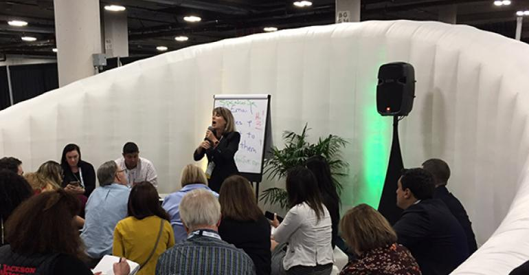 Sue Hershkowitz-Coore, a sales trainer and professional speaker with High Impact Presentations during a recent SRO campfire session at IMEX America 2017
