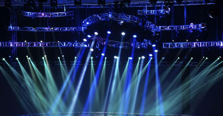 Colorful spotlights on a stage