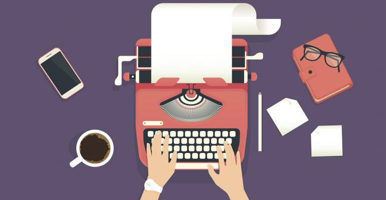 Illustration of person typing on a typewriter