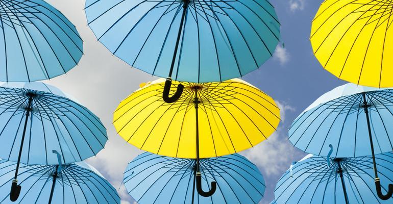 blue and yellow umbrellas