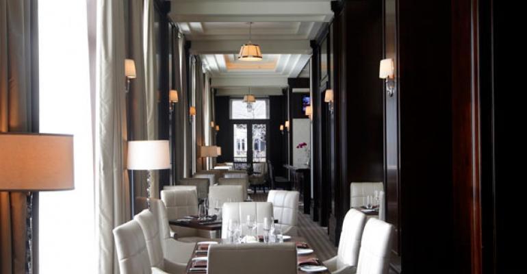 A stylish new dining area at the Mandarin Oriental Atlanta