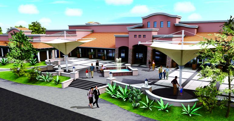 A rendering of the entrance to the new ballroom at the Palomino Conference Center