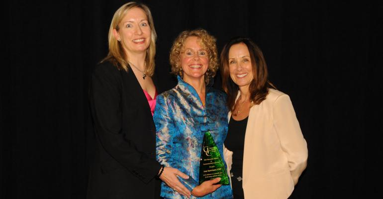 Amy Spatrisano CMP center receives her award from Convention Industry Council CEO Karen Kotowski CAE CMP left and Terri Breining CMP CMM of The Breining Group