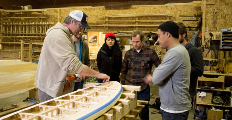 Designers from Vans at Grain Surfboards39 workshop in York Maine