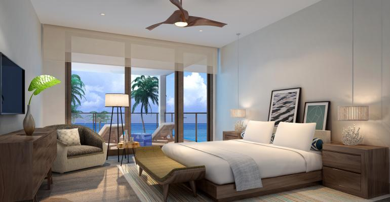 A 3D rendering of a room in one of the villas