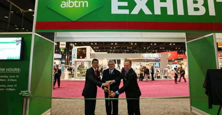 Craig Moyes portfolio director Reed Travel Exhibitions Don Welsh president and CEO of Choose Chicago and Michael J Lyons exhibition director AIBTM cut the ribbon to open the third AIBTM trade show