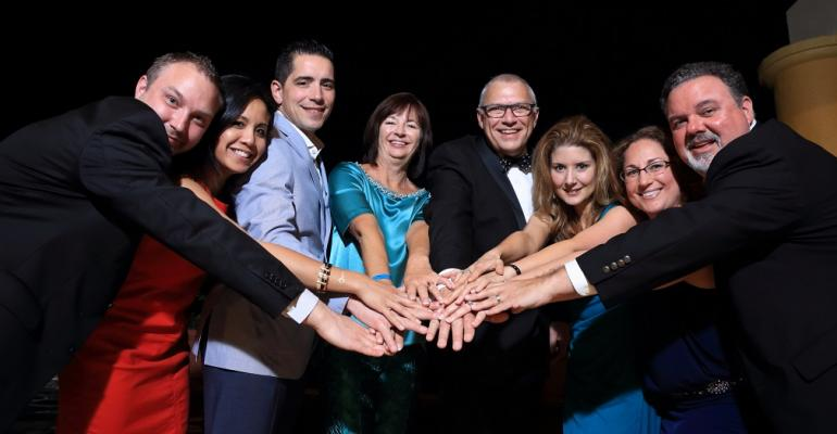 During its annual meeting and conference in Los Cabos Mexico the Association of Destination Management Executives International elected the 2015 board of directors and its first president outside North America Pictured left to right Brian Ferrell DMCP factor 110  Destination Oklahoma Cindy Y Lo Red Velvet Events Cosimo Bruzzese Briggs Inc Jennifer Patino DMCP Hosts Global Alliance Bent Hadler DMCP CIS Hadler DMC Scandinavia Amberlee Huggins DMCP Capitol Services Inc Michelle Crosby DMCP CTA CMP AlliedPRA D