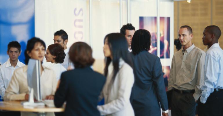 Young exhibitors mingle at a tradeshow