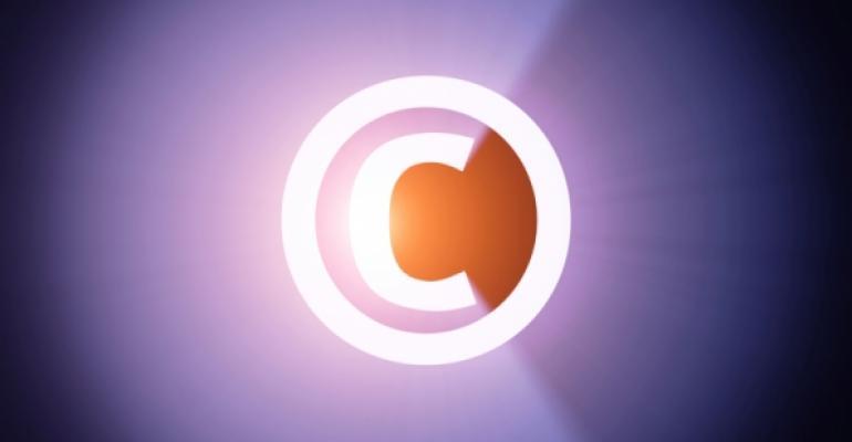 Glowing copyright symbol