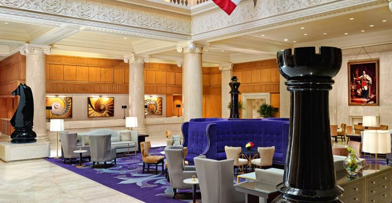 Lobby in the newly renovated Omni King Edward Hotel in Toronto