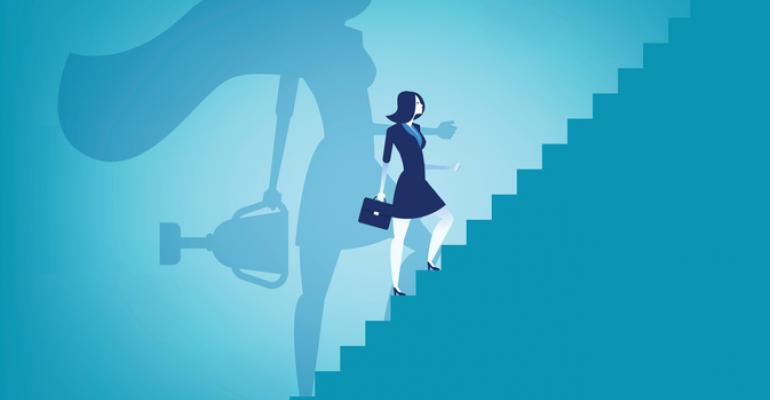 Illustration of woman climbing steps with superhero shadow