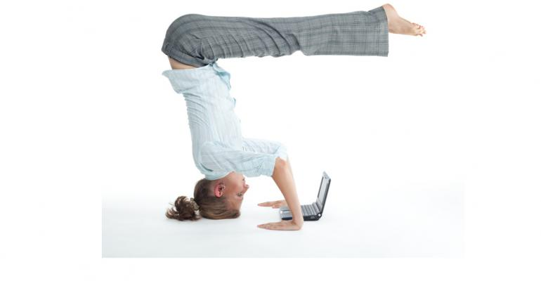 Yoga pose with laptop