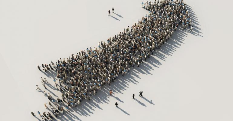 An arrow made of people