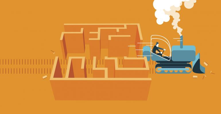 Bulldozing through a maze