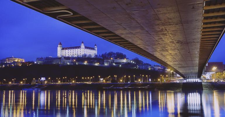 Bratislava view of castle from Danube