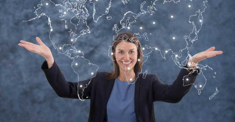 businesswoman with a world map