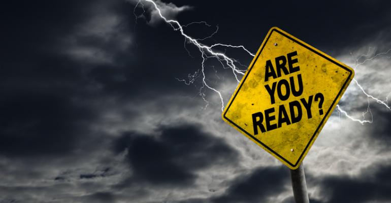 """""""Are you ready?"""" on yellow sign with lightening"""