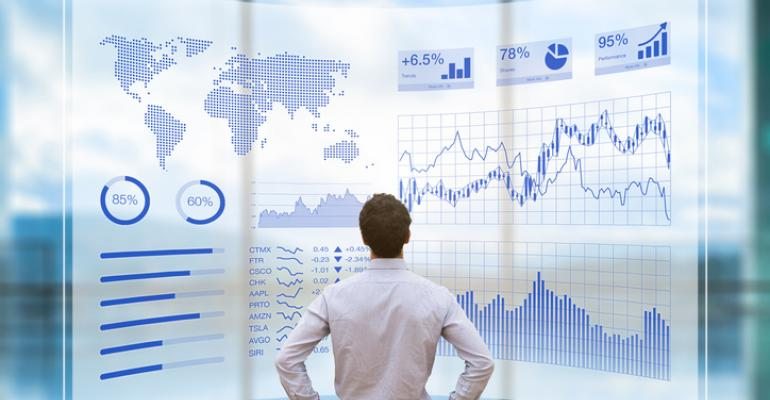 Man looking at business forecast