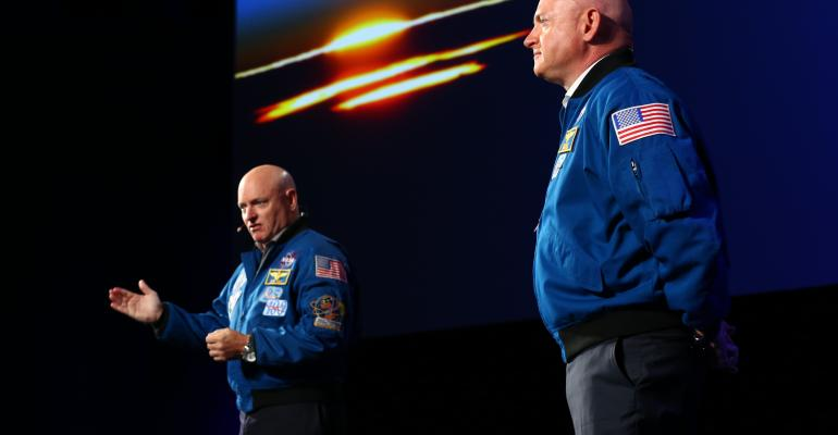 Astronauts Mark and Scott Kelly at ASAE 2016