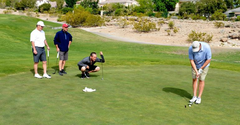 Making the putt at Las Vegas Badlands Golf Club