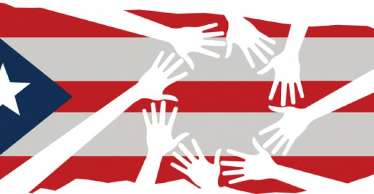 Puerto Rico flag with helping hands