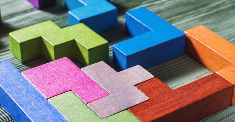 Tetris-like blocks falling into place