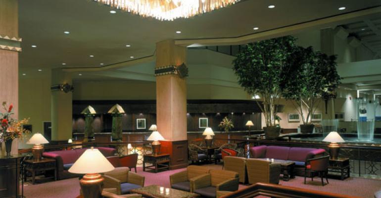 The lobby at the newly renovated Hyatt Regency Minneapolis