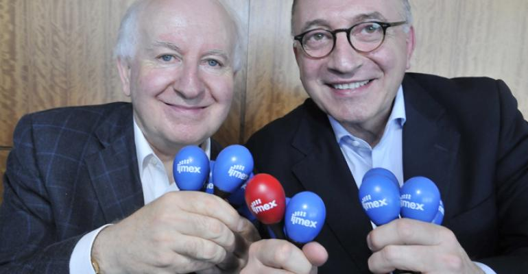 Ray Bloom chairman IMEX Group left and Arnaldo Nardone president International Congress and Convention Association celebrate Puerto Rico39s hosting of the 51st ICCA Congress with brightly colored maracas at an IMEX luncheon on Monday