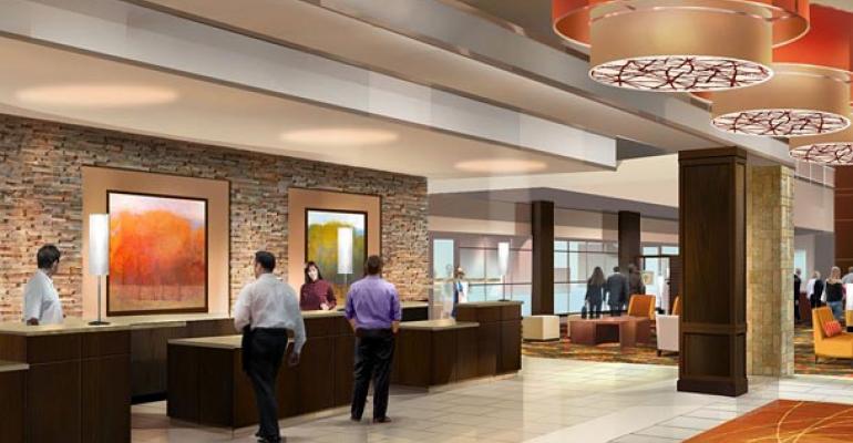 The lobby at Minneapolis Marriott Northwest in Brooklyn Park Minn