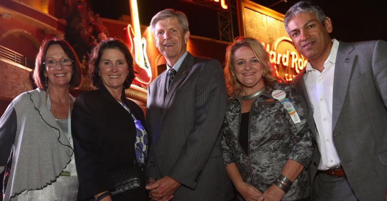 From left to right Kathy Canning executive director of the Orange County Convention Center Deborah Sexton president amp CEO PCMA Gary Cain president Boys amp Girls Clubs of Central Florida Tammi Runzler vice president of convention sales and service Visit Orlando and Sherrif Karamat chief operating officer PCMA prepare to enter Party with a Purpose the annual fundraiser connected to PCMArsquos Annual Meeting Convening Leaders
