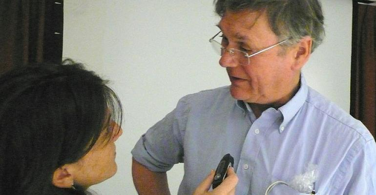 Nobel Laureate Tim Hunt being interviewed by one of those pesky women Paloma Baytelman who shared this photo on Flickr