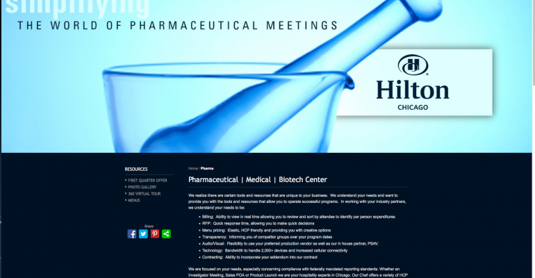 Hilton Chicago created a pharmaceutical meetings landing page where those who ar